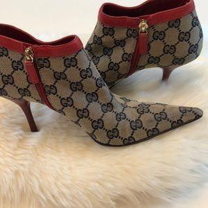 Gucci Canvas D Ring Ankle Booties EUC Size 6B